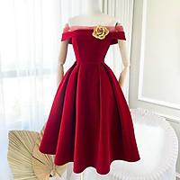 Váy Thiết Kế xòe A trễ vai, váy nhung xòe dài phối vai chấm bi xinh xắn - H&N Store