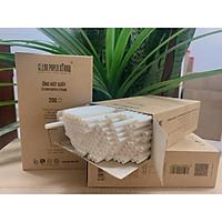 hộp 200 ống hút giấy cao cấp _ Clean Paper Straw màu trắng kích thước 6mm x 197mm dùng cho cà phê, nước ép....