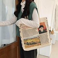 Túi vải, túi tote đeo vai vintage, hình vangoh -