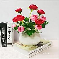 Hoa lụa giả Chùm hoa hồng màu hồng trà trang trí
