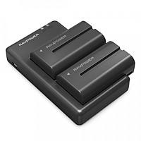 Pin máy quay Sony NP-F550 Ravpower RP-BC006, 2 pin 2900mAh, bộ sạc kép - Hàng chính hãng
