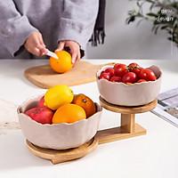 Khay đựng hoa quả 2 tầng 2 đĩa kệ gỗ tre