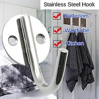 Stainless Steel Single Hook Bathroom Kitchen Door Back Coat Hook Family Hotel Black Solid Hook High-quality Steel Anti