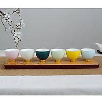 Combo 6 chén 6 màu uống trà men ngọc