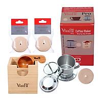 Bộ kit cafe phin VfastFil Pro, sử dụng giấy lọc cafe phin: Phin cafe cải tiến 1-2 ly cafe + 2 túi giấy lọc cafe, 100 tờ/túi + Muỗng gỗ định lượng Pro đong 10g cafe + Hộp gỗ thông