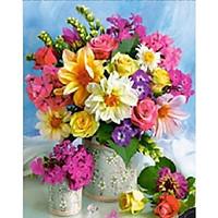 Tranh đính đá Bình hoa khoe sắc - LV207