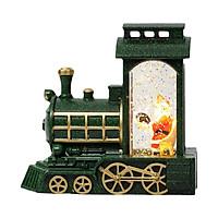 Christmas Snow Globe Lantern LED Glittering Lantern Santa Claus Shaped Train Lantern Battery Operated for Home
