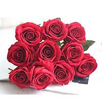 Combo 5 bông hoa hồng giả nhân tạo không kèm lọ hoa - Đỏ tươi