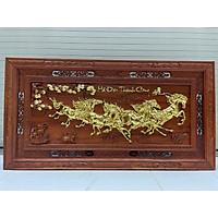 Tranh treo tường phòng khách mã đáo thành công gỗ Hương đỏ nguyên khối