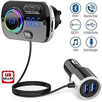 Hands-free Bluetooth Fm Transmitter Wireless Radio Adapter Car Kit Mp3  Player