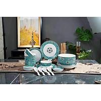 Bộ bát đĩa đẹp tăng thêm cảm giác ngon miệng cho gia đình - Set bát đĩa sử dụng trên bàn ăn thêm phần tinh tế và sang trọng - Thiết kế đơn giản , chất liệu sứ cao cấp - họa tiết tân cổ điển gam mà xanh lạ mắt BBD-03.