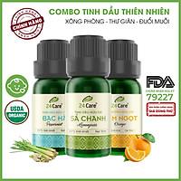 Combo 3 Tinh dầu Sả Chanh + Bạc Hà + Cam Úc 24Care 10ml/Chai