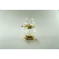 Đèn dầu pha lê thờ cúng Phật đốt dầu lưu ly dầu hỏa đế và nắp mạ vàng - Nhiều cỡ