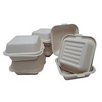 50 Hộp Bã mía vuông Hamburger nắp liền 1 ngăn dung tích 530ml, màu nâu bã mía, tự phân hủy, dùng được lò vi sóng