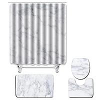 4pcs/set Water-resistant Shower Curtain & Lid Toilet Cover Pedestal Rug Non-slip Bath Mat Bathroom Decoration