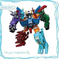 Hộp 6 bộ đồ chơi lắp ráp Robot biến hình - Khủng long (553 chi tiết) Qman 1414