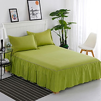 Fun Princess Style Pleated Cotton Bedspread Simple Solid Color Soft Thicken Bedding Sheet