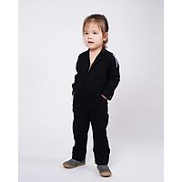 Jumpsuit Trẻ em Unisex_ Yvette LIBBY N'guyen Paris_VOYAGER_Màu Đen (Black), Vải lanh cao cấp viền cotton lụa Ý