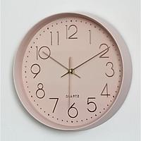 Đồng hồ treo tường tròn Quartz phong cách Bắc Âu đính đá viền rộng 30cm