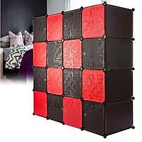 Tủ Nhựa Lắp Ghép 16 Ngăn Thân  Đen  Cánh Đen Đỏ   (148 *148 *47 cm)