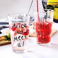 Ly Thuỷ Tinh Có Vạch Chia ml - Uống Trà, Uống Nước, Cà Phê, Sinh Tố, Nhiều Mẫu Chữ - C07
