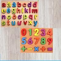 Bộ 2 Bảng Ghép Chữ tiếng Việt in thường và số bằng gỗ - Đồ chơi trí tuệ an toàn cho bé MK