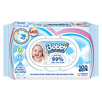 Khăn Ướt Bobby Không Mùi (100 Miếng)