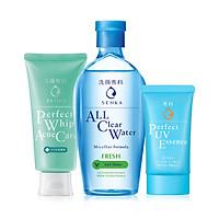 Bộ sản phẩm Senka làm sạch và chống nắng dành cho da mụn (Senka A.L.L.Clear Water Fresh 230ml + SRM Acne Care 100g + Senka Perfect UV Essence 50g)