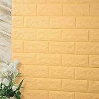 Bộ 10 tấm xốp dán tường giả gạch qknt61 màu vàng 3