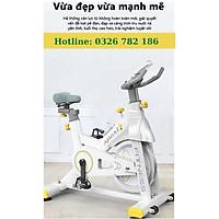 Xe đạp tập thể dục tại nhà SPORT FITNESS màu trắng xám TẶNG Đồng hồ cảm biến nhịp tim + Dây sạc điện thoại siêu dài