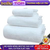 Bộ Khăn Bông Bestke Cao Cấp 100% Cotton Xuất Khẩu Hàn Quốc, Màu Trắng - B-b3ktr70120