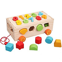 Đồ chơi gỗ thông mInh _ Mô hình xe thà khối kèm số đếm MK0015