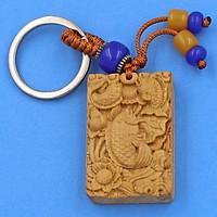 Móc khóa gỗ hoàng đàn khắc hình