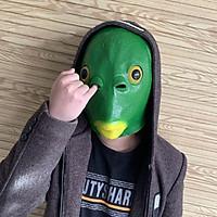 Green Fish Head Mask Funny Creepy Fish Head Party Mask Adult Animal Cosplay Prop Latex Mask Halloween Costume Festival