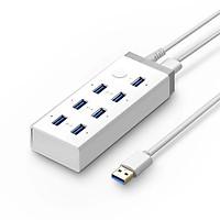 Bộ chia Hub USB 3.0*7 Ports Hỗ trợ cổng nguồn 12V-4A màu Trắng UGREEN UHU20296CR116 Hàng chính hãng