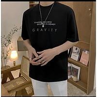 Áo Thun Nam Tay Lỡ Unisex cổ Tròn chất liệu vải cotton màu đen form rộng in chữ GRAVITY phong cách độc chất Trumunisex