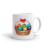 Cốc Sứ Cao Cấp In Hình Chiếc Giỏ Những Quả Trứng Nhiều Màu Sắc - Mẫu010