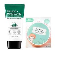 Kem Chống Nắng Dành Cho Da Dầu Mụn, Nhạy Cảm Some By Mi Trucica Mineral 100 Calming Suncream SPF50+/PA+++ 50ml tặng kèm mũ trùm tóc