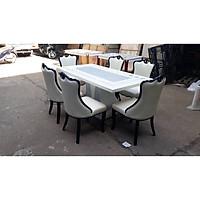 Bộ bàn ăn mặt đá cao cấp ghế bọc da 1M7 (6 ghế)