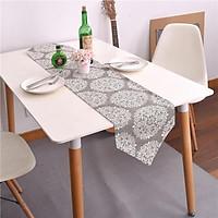 Khăn trải bàn dài Runner 30x180 vải bố, họa tiết hoa tuyết trắng