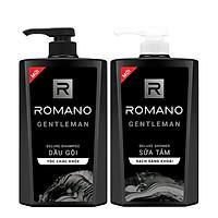 Combo Dầu gội và Sữa tắm Romano Gentleman lịch lãm nam tính 650g/chai