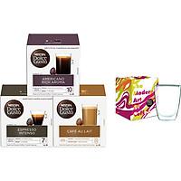 Combo 3 Hộp Cà Phê Viên Nén Nescafe Dolce Gusto Vị Espresso, Americano, Aulait Kèm 1 Ly Thủy Tinh 2 Lớp Cao Cấp