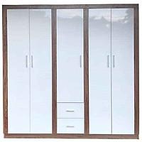 Tủ gỗ quần áo MDF màu trắng 5 cánh