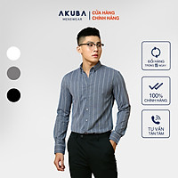 Áo Sơ Mi Nam Tay Dài Họa Tiết Sọc Cao Cấp AKUBA   02A913