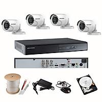 Trọn Bộ Camera HIKVISION 2.0MP - Full HD 1080P - Đủ Bộ 4 mắt 2.0MP, Đầu ghi vỏ Kim loại, Hdd 1TB & Phụ kiện lắp đặt - Hàng chính hãng