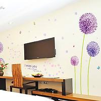 Decal dán tường hoa bồ công anh tím am9011