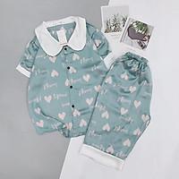 Đồ Ngủ Pijama Lụa Satin Tay Ngắn Cổ Sen Quần Lửng Siêu Xinh - Babi mama - Bộ Mặc Nhà BP04