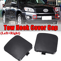 Pair Left + Right Side Front Bumper Tow Hook Cover Cap For Toyota RAV4 2009 ABS