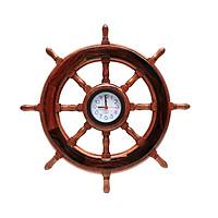 Vô lăng tàu gỗ trang trí Ø40cm (có đồng hồ)