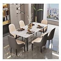 Bộ Bàn Ăn Luxury Chân Bọc Núm Đồng Siêu Phẩm của Năm BBDP-02 - Kích Thước 1.4m x 80cm và 6 Ghế Ăn - (Màu ghế ngẫu nhiên)